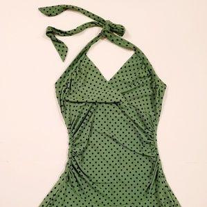 Velvet Torch Polka Dot Halter Tie Back Dress
